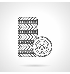 Car wheels flat line icon vector image