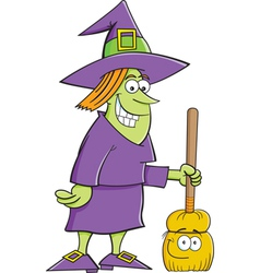 Cartoon witch with a broom vector