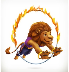 Circus lion jumping through a flaming hoop fire vector