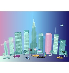 City day and night vector