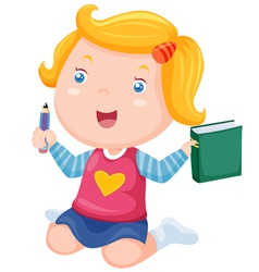 Cute girl ready back to school vector image