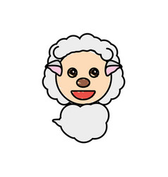 Draw sheep animal comic vector
