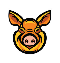 funny smiling orange pig vector image vector image
