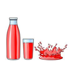glass cup bottle splash drop of juice vector image