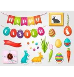 Happy easter objects decorations vector