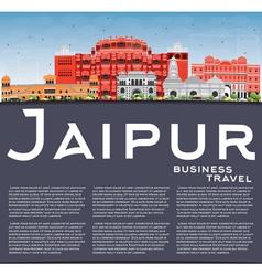 Jaipur Skyline with Color Landmarks Blue Sky vector image vector image