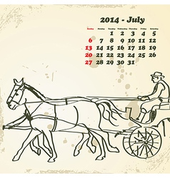July 2014 hand drawn horse calendar vector image vector image