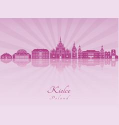 Kielce skyline in purple radiant orchid vector