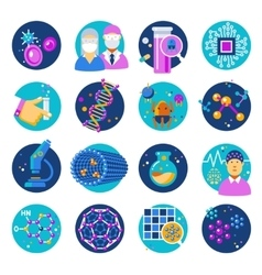 Nanotechnology flat icons set vector