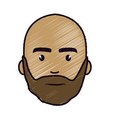 Nice face man with beard and bald vector