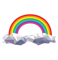 origami clouds with rainbow vector image vector image