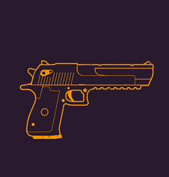 pistol outline handgun gun vector image