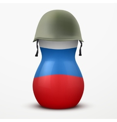 Russian matrioshka in military helmets and flag vector