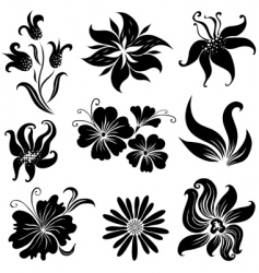 set of black flower design elements set vector image vector image
