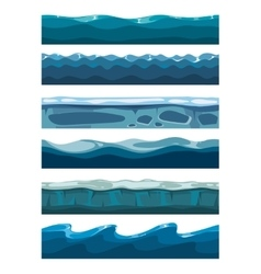 Set of sea backgrounds for mobile games apps vector