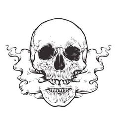 smoking skull art vector image vector image