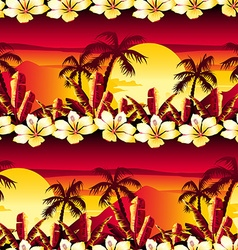 Tropical golden sunset with hibiscus flowers vector image vector image