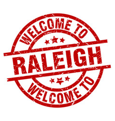 Welcome to raleigh red stamp vector