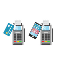 Wireless payment by credit card using pos terminal vector