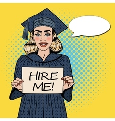 Young woman graduate holding hire me sign pop art vector