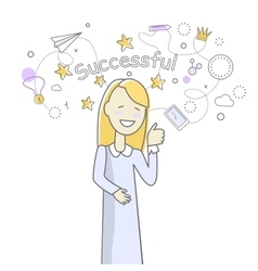 Successful woman banner vector