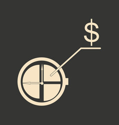 flat in black and white diagram with dollar vector image