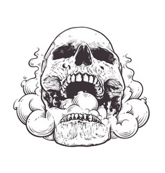 smoking skull art vector image