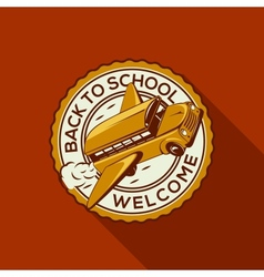 Welcome Back to school label with schoolbus vector image