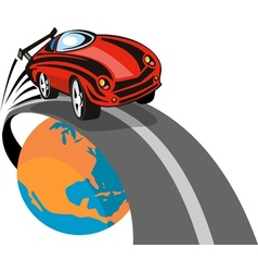 Sports car flying above globe vector