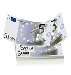 5 Euro bills vector image