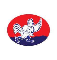 cartoon rooster chicken pointing wing vector image