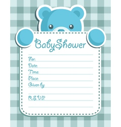 blue bear baby shower card vector image