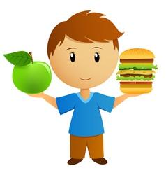 apple and hamburger vector image