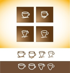 Coffee logo cup contour line drawing vector