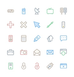 User interface colored line icons 18 vector