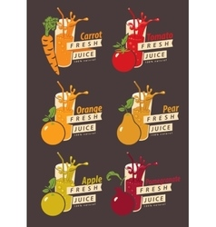Set fruits and glass with fresh juice vector