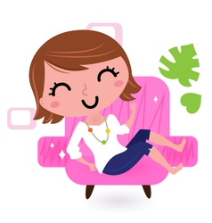 Sofa bed woman vector