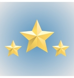 Three gold relief star icons stock vector
