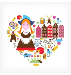 Heart with netherlands icons vector