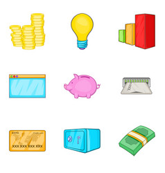 accrual icons set cartoon style vector image vector image