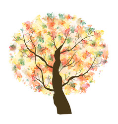Autumn paint textured art tree vector