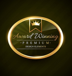 beautiful award winner golden label badge vector image