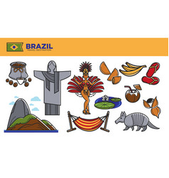 brazil travel destination promotional poster with vector image vector image