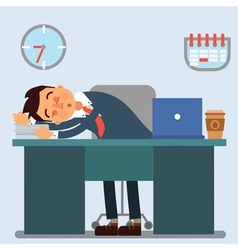 Businessman Working Day Sleeping Businessman vector image