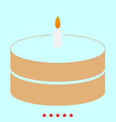 cake with candle it is icon vector image