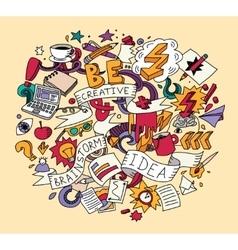 Creative doodles idea brainstorm color vector image vector image