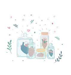 et of jars with a human heart collection vector image