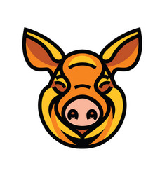 Funny smiling orange pig vector