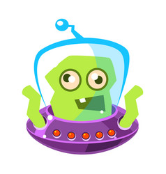 Furious green alien cute cartoon monster vector