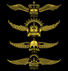 golden wing crown royal logo vector image vector image